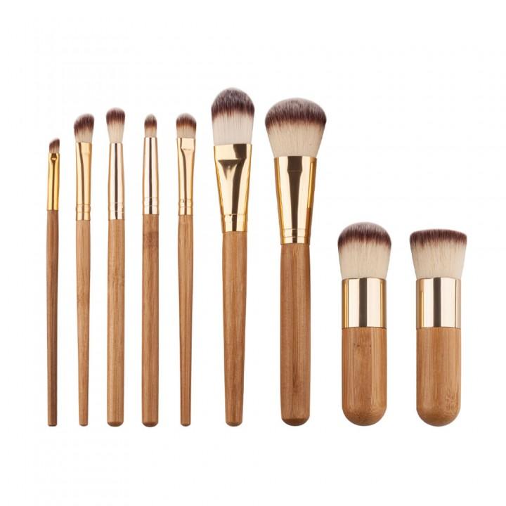 9PCS Pro Make up Brushes Set Makeup Blush Face Powder Lip Brush Bamboo Handle golden