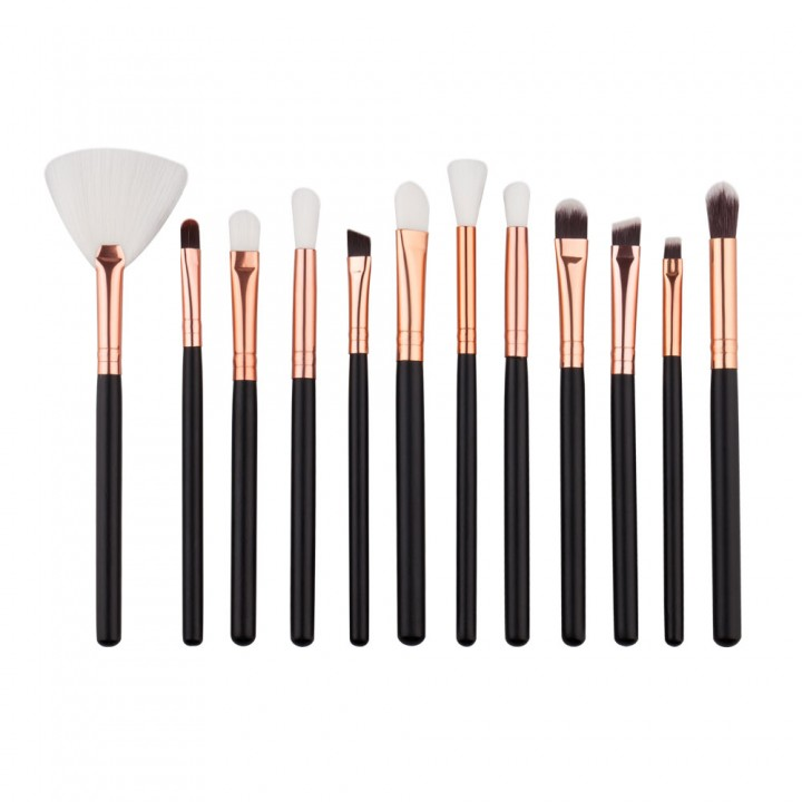 12Pcs Powder Foundation Eyeshadow Lip Brush Tool Pro Makeup Cosmetic Brushes Set as picture
