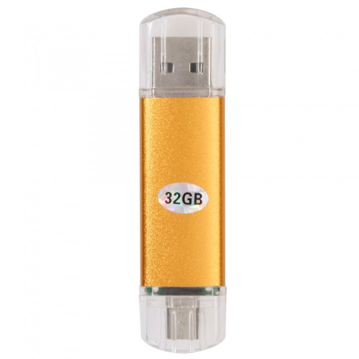 New 32GB 32G Storage OTG USB 2.0 Flash Drive U Disk For PC Android Phone golden one size 32gb