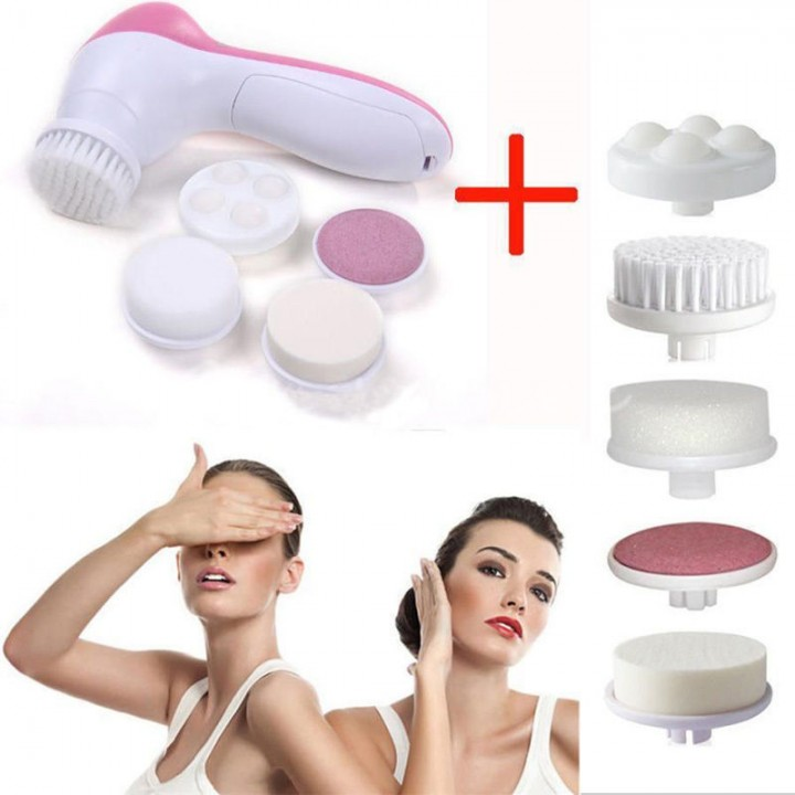 Fashion Spa Skin Care Massage Electric Face Facial Cleansing Brush 5 In 1 Red & White