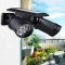 14 LED Dual Head Solar Powered Yard Lights PIR Motion Sensor Spotlight Wall lamp black one