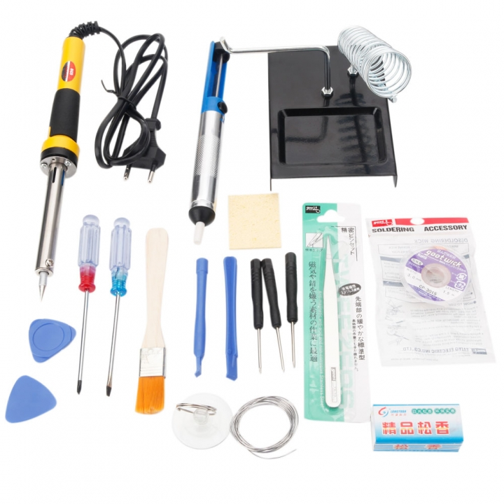 18pcs SMD Soldering Iron Tool Kit w/ Desoldering Pump 230V 60W for Cellphone PC