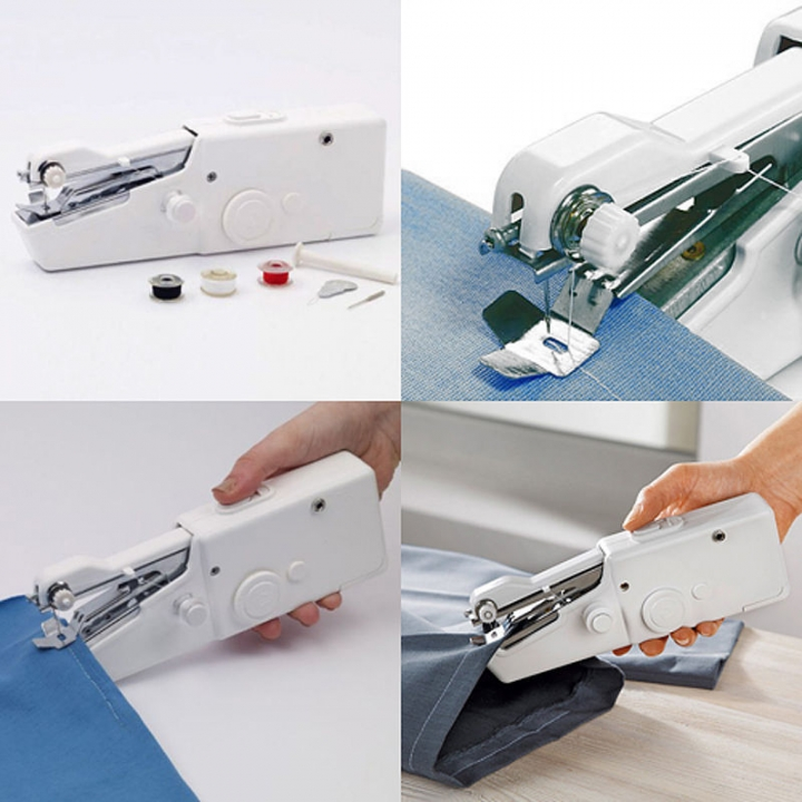 Red, Sewing Set Handheld Sewing Machine Cordless Quick Handy Stitch Mini Sewing Machine for Beginners Cordless Handheld Electric