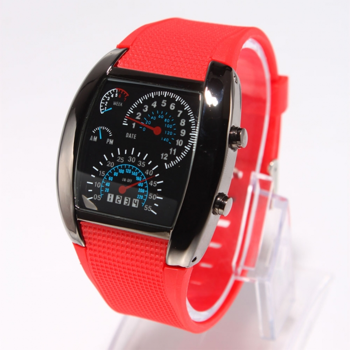 Men's Fashion RPM Turbo Blue Flash LED Car Meter Dial Sport Leisure Wrist Watch red one size