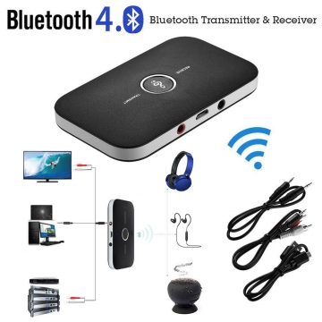 2in1 Bluetooth Transmitter & Receiver A2DP Car Home TV Stereo Audio Adapter DC5V black