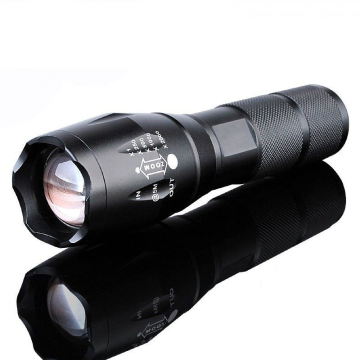 Super Light S2 1200 Lumen 5 Modes Zoomable  XML  T6  LED  18650 Flashlight Focus  Torch Lamp Black Black