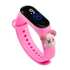 New Fashion Cartoon Children's Watch LED Electronic Touch Waterproof Girls Boys Watch Toys Gifts Pink one size