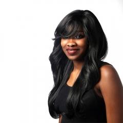 African Wig Partial Black Bangs Wavy Long Curly Hair Black 65CM