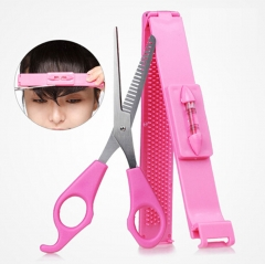 Professional Hair Tools Bang Cut Kit Scissor+Hair Clip Set Pink One Size