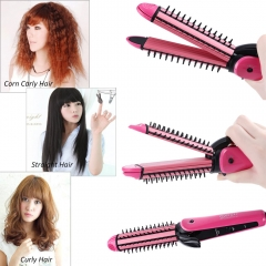 Multifunctional 3 in 1 hair sticks corn clip hair straightener hair comb roll Corn Waver Roller pink one size