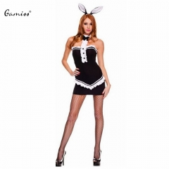 Costume Cosplay Off-the-shoulder Lacework Halter Bunny Rabbit Lingerie Set Sexy Bowtie Sheath black one size