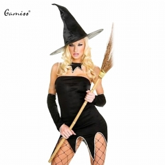 Role Play Cosplay Witch Sexy Uniform With Cap For Women Halloween Party Black Patchwork Strapless black one size