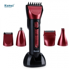 Kemei Electric Hair Clipper Washable Multi-functional Shaver with Scissors Comb Awls for Barber as the picture