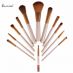 12pcs / Set Cosmetic Makeup Brush Set with Metal Storage Case New Arrival Powder Face Brush Set as the picture