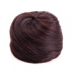 Fashion Fluffy Charming Straight Synthetic Chignons For Women deep brown one size