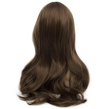 Fashion Fluffy Full Bang Light Brown Charming Long Wavy Synthetic Wig For Women LIGHT BROWN 80CM