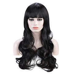 Elegant Long Wave Charming Full Bang Heat Resistant Synthetic Capless Wig For Women Black one size