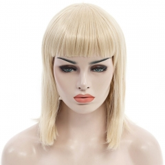 Trendy Neat Bang Medium Straight Synthetic Charming Light Blonde Capless Wig For Women GOLDEN 30cm