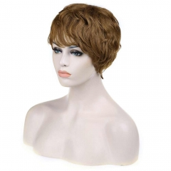 Stylish Towheaded Side Bang Noble Charming Short Curly Human Hair Women's Capless Wig as the picture 18cm