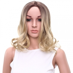 Gorgeous Medium Brown Mixed Blonde Synthetic Fluffy Wavy Centre Parting Wig for Women colormix 33cm