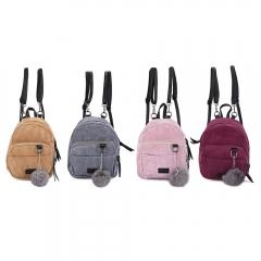 Mini Corduroy Fabric Women Backpack Fluffy Ball Shoulder Bag Gray One Size