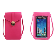 Fashion Screen Touch Ajustable locker Crossbody Shoulder Girlfrend Gift Women Phone bags Rose Pink