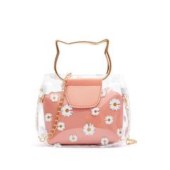 Women Shoulder Bags Crossbody Portalble Clutch Handbags Fashion Minisize  transparent  bag set Pink as picture