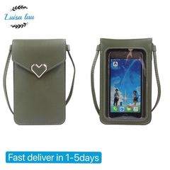 Girlfriend Gift Fashion Screen Touch Sweetie heart Ajustable Crossbody Messenger Women Phone bags Green as picture