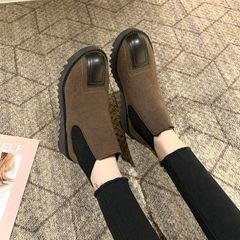 All-match new ladies Chelsea boots flat ankle boots high-grade suede leather material coffee 40