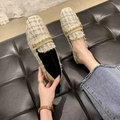 Ladies flat bottom with string beads weaving single shoe spring and autumn style White 38