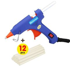 Upgraded Hot Glue Gun+12 Pcs Lengthened Melt Glue Sticks Safe and nontoxic Christmas Tool A blue glue gun and 12 glue sticks one size