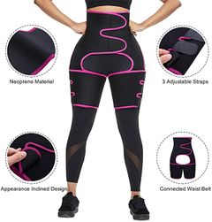 Booty Sculptor Thigh Trimmers, 3-in-1 Butt Lifter, Waist Trainer & Thigh Trimmer Black with Pink L/XL
