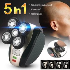 Premium 4D Electric Shaver 5 in 1 Set-Multifunctional-Hair remover Black-Gold as picture