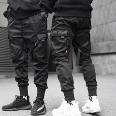 Men Ribbons Color Block Black Pocket Cargo Pants Harem Joggers Harajuku Sweatpant Hip Hop Trousers Black M