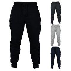 Men Casual Pants Fitness Men Sportswear Tracksuit Men Clothes Sweatpants Trousers Gyms Track Pants L black