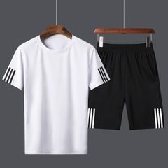 New 2 pack top shorts Summer men short sleeve pants casual suit T-shirt fashion men clothes hot sell L black+white