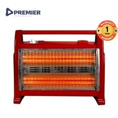 PREMIER PM002/PRH002  Halogen Room Quartz Heater With Two Heat Settings 800Watts/1600Watts Red