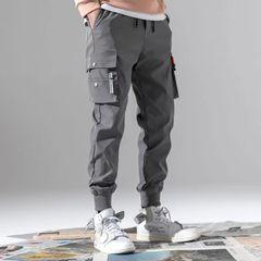Fashion Multi-pockets Overalls Men's Pants Sportwear Baggy Casual Joggers  Trousers Sweatpants Gray L