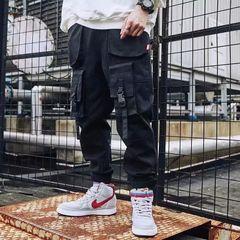 Fashion Multi-pockets Splicing Overalls Men's Pants Baggy Casual Joggers Trousers Sweatpants Black XL