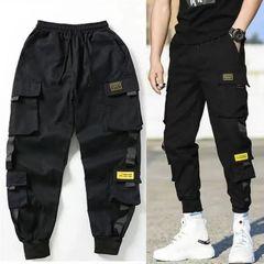 Fashion Multi-pockets Yellow Label Overalls Men's Pants  Baggy Casual Joggers Trousers Sweatpants Black L