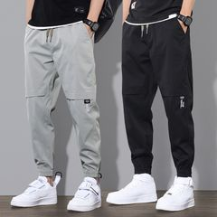 Stylish Ninth Pants Overalls Men's Pants Sportwear Baggy Casual Joggers  Trousers Sweatpants Gray 3XL