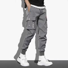 Fashion Multi-pockets Overalls Men's Pants Sportwear Baggy Casual Joggers  Trousers Sweatpants Gray XL