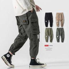 Cotton Fashion Multi-pockets Overalls Men's Pants Sportwear Baggy Casual Trousers Sweatpants Gray 3XL