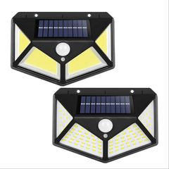1 pack 100 LED Solar Power PIR Motion Sensor Wall Light Outdoor Garden Lamp Waterproof Lighting lamp Black 13*9.7*5.3MM 7W