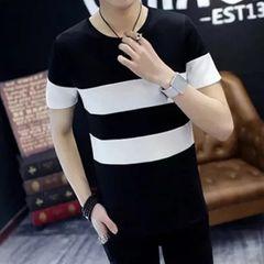 T-shirt Short-sleeved men thin bottoming shirts student tops Slim men trend fashion men clothes L As shown