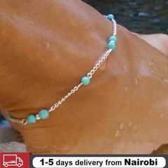 Fashion Handmade Turquoise Bead Anklet Foot Chain Silver