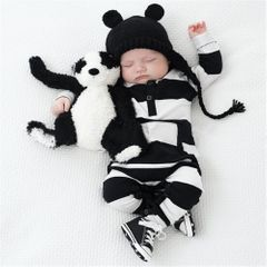 Boys' and girls' Cotton Black and white Baby Clothing striped Jumpsuit Suits Black 80cm