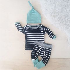 Newborn Baby Boy Girl Long Sleeve Tops +Long Pants Hat 3PCS Outfits Set Clothes Black 90cm