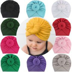 New children's round ball endless hat circle headband solid color ball head Yellow Middle