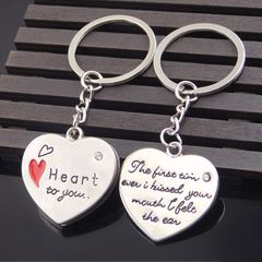 Man Woman Gift Valentine's Day Love Letter Confession Keychain Pendant Toy Silver 1+1